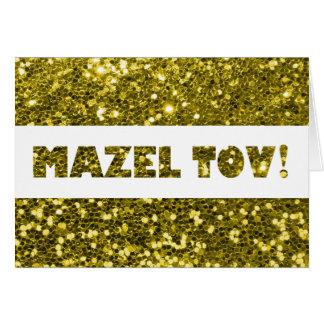 Enhorabuena de Mazel Tov del brillo del oro Tarjeta De Felicitación