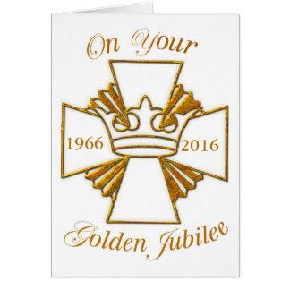 Enhorabuena de oro del jubileo de la fecha de tarjeta de felicitación