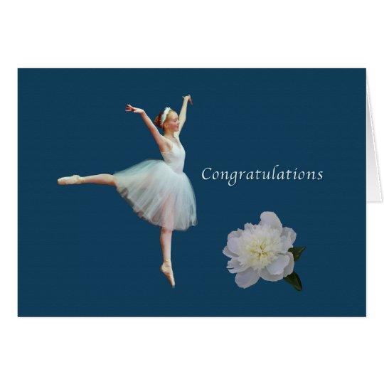 Enhorabuena, decreto, bailarina, Peony blanco Tarjeta De Felicitación