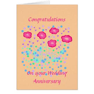 Enhorabuena del aniversario de boda tarjeta