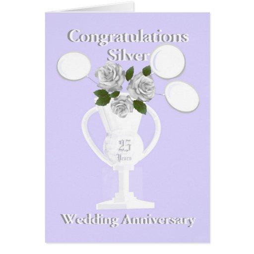 Enhorabuena del aniversario de bodas de plata 25 a tarjetón