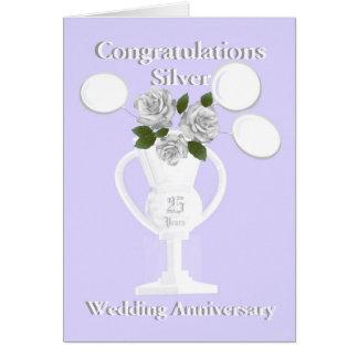 Enhorabuena del aniversario de bodas de plata 25 tarjeta de felicitación