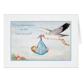 Enhorabuena del bebé de la cigüeña del vintage tarjeta
