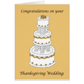 Enhorabuena del boda de la acción de gracias tarjeta de felicitación