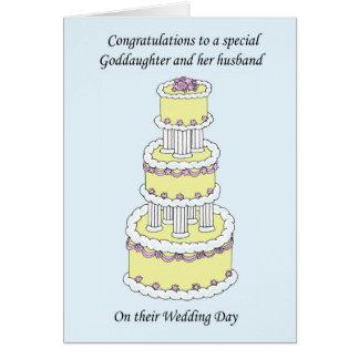 Enhorabuena del boda de la ahijada y del marido tarjeta de felicitación