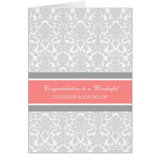 Enhorabuena del boda de la hija y del yerno gris tarjeta de felicitación