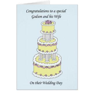 Enhorabuena del boda del ahijado y de la esposa tarjeta de felicitación