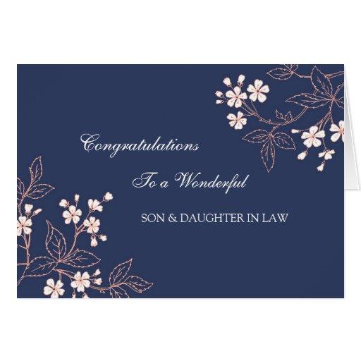 Enhorabuena del boda del hijo y de la nuera azul felicitacion