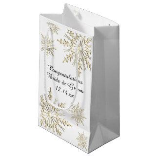 Enhorabuena del boda del invierno de los copos de bolsa de regalo pequeña