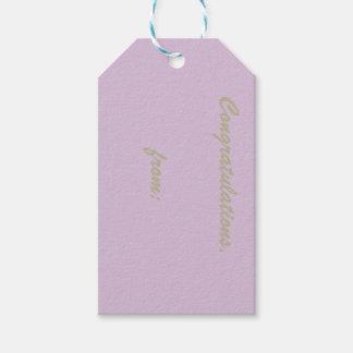 Enhorabuena del cardo (escritura del oro) etiquetas para regalos