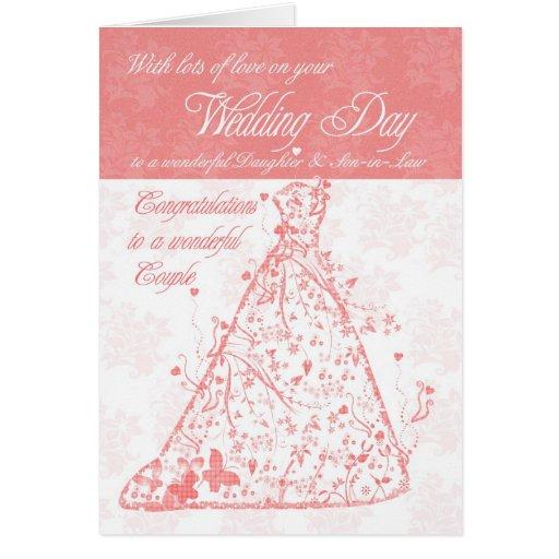 Enhorabuena del día de boda de la hija y del yerno tarjetas