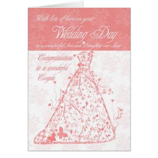 Enhorabuena del día de boda del hijo y de la nuera tarjeta de felicitación