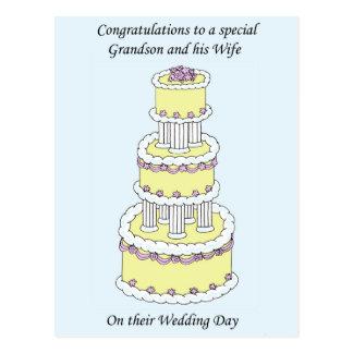 Enhorabuena del día de boda del nieto y de la postal