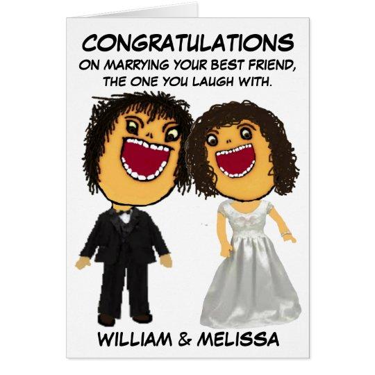 Enhorabuena del dibujo animado de novia y del tarjeta de felicitación