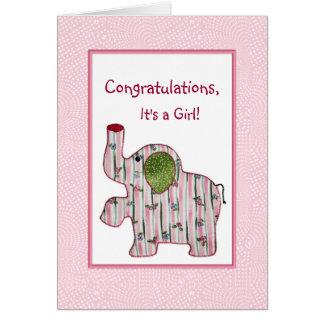 Enhorabuena del elefante rosado es una tarjeta del