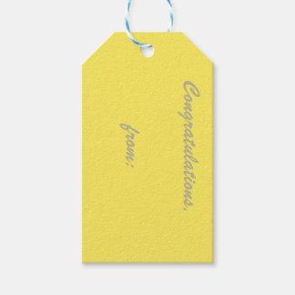 Enhorabuena del maíz (escritura del oro) etiquetas para regalos