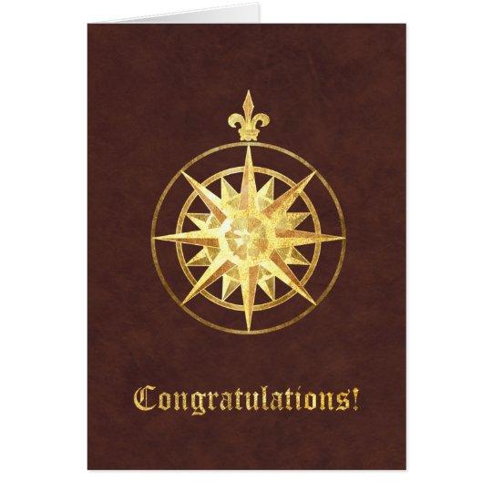 Enhorabuena del rosa de compás tarjeta de felicitación