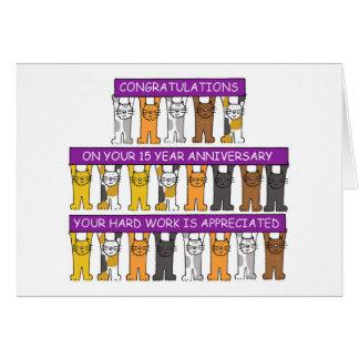 enhorabuena del trabajo del aniversario de 15 años tarjeta de felicitación