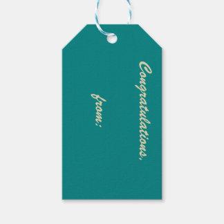 Enhorabuena del trullo (escritura del oro) etiquetas para regalos