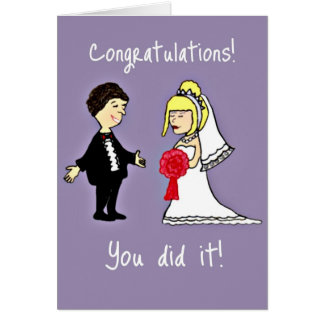 Enhorabuena divertida del boda tarjeta de felicitación