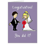 Enhorabuena divertida del boda tarjetón