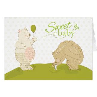 Enhorabuena dulce del bebé de los abuelos, osos, tarjeta de felicitación