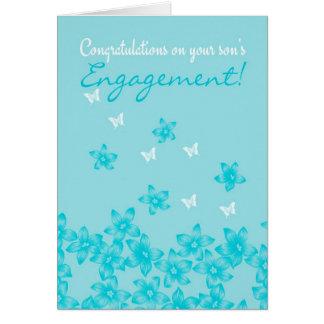 Enhorabuena en el compromiso de su hijo floral tarjeta de felicitación