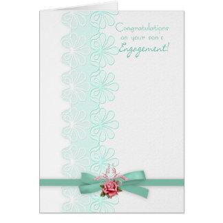Enhorabuena en el cordón del compromiso de su hijo tarjeta de felicitación