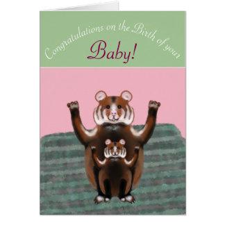 Enhorabuena en el nacimiento del bebé, hámsteres tarjeta de felicitación