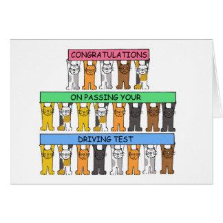 Enhorabuena en el paso de su prueba de conducción tarjeta