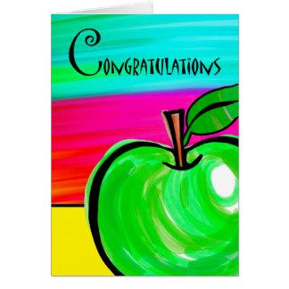 Enhorabuena en el retiro del profesor, Apple verde Tarjeta De Felicitación