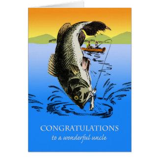 Enhorabuena en el retiro para el tío, pescando tarjeta de felicitación