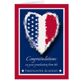 Enhorabuena en la graduación, academia del bombero tarjeta