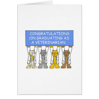 Enhorabuena en la graduación como veterinario tarjeta de felicitación
