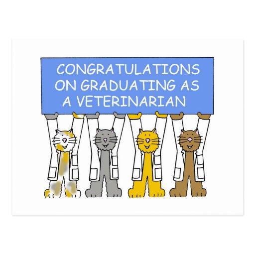 Enhorabuena en la graduación como veterinario tarjetas postales