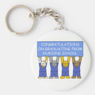 Enhorabuena en la graduación de escuela de oficio llavero redondo tipo chapa