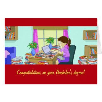Enhorabuena en la tarjeta de la licenciatura