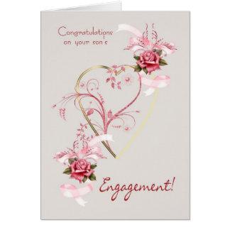 Enhorabuena en los rosas del compromiso de su hijo tarjeta de felicitación