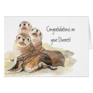 Enhorabuena en los sellos del divorcio de la aprob tarjeta de felicitación