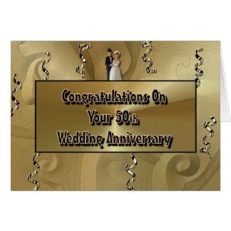 Enhorabuena en su 50.o aniversario de boda tarjeta de felicitación