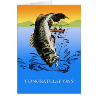 Enhorabuena en su captura grande, pesca del tarjeta