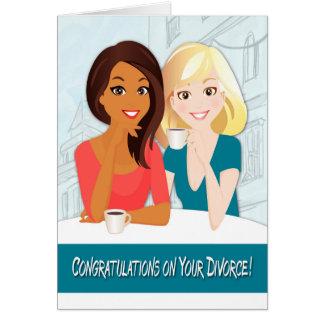 Enhorabuena en su divorcio con las mujeres tarjeta de felicitación