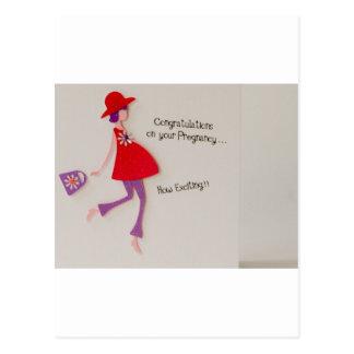 ¡enhorabuena en su embarazo! tarjeta postal