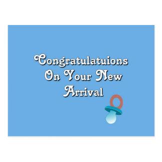 Enhorabuena en su nueva llegada postal