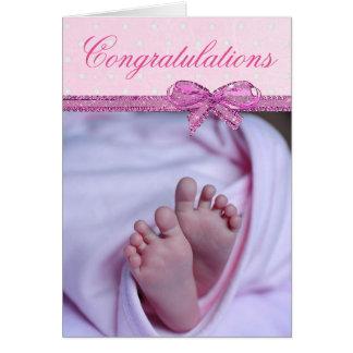 Enhorabuena en su nueva niña tarjeta