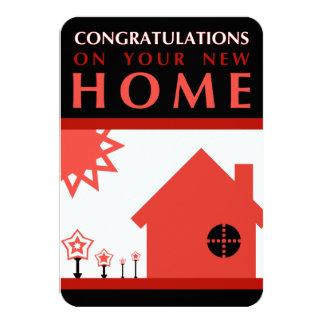 enhorabuena en su nuevo hogar (formas rojas) invitacion personalizada