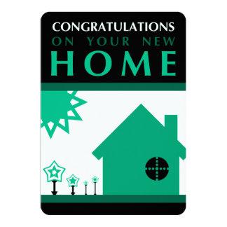 enhorabuena en su nuevo hogar (formas verdes) invitación 12,7 x 17,8 cm