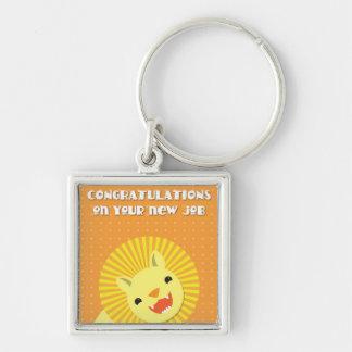 ¡Enhorabuena en su nuevo TRABAJO! león de la carre Llavero Cuadrado Plateado