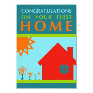 enhorabuena en su primer casero (crayolaShapes) Invitación 12,7 X 17,8 Cm