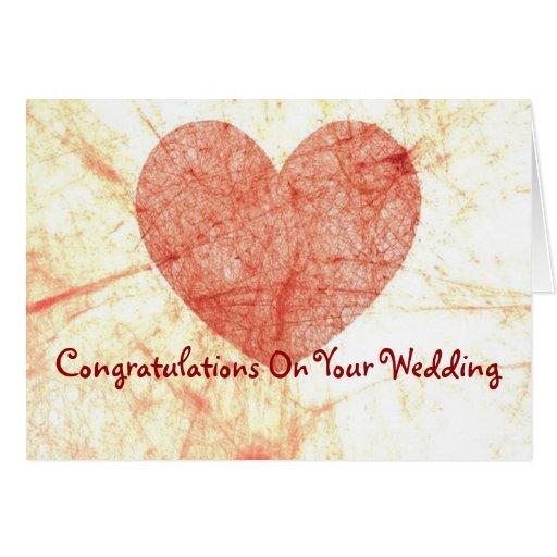 Enhorabuena en su tarjeta de felicitación del boda